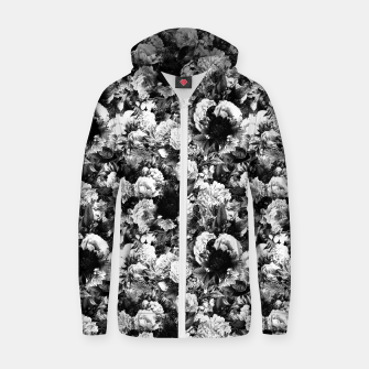 winter flowers seamless pattern 01 small light black white Zip up hoodie thumbnail image