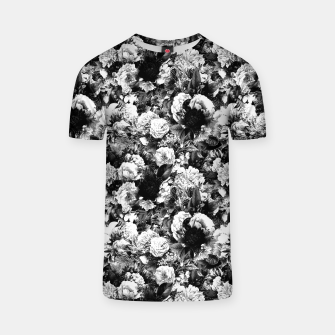winter flowers seamless pattern 01 small light black white T-shirt thumbnail image