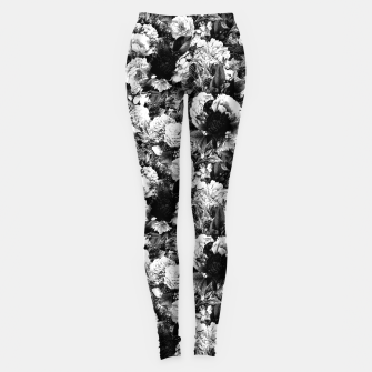 Miniaturka winter flowers seamless pattern 01 small light black white Leggings, Live Heroes