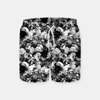 winter flowers seamless pattern 01 small light black white Swim Shorts thumbnail image