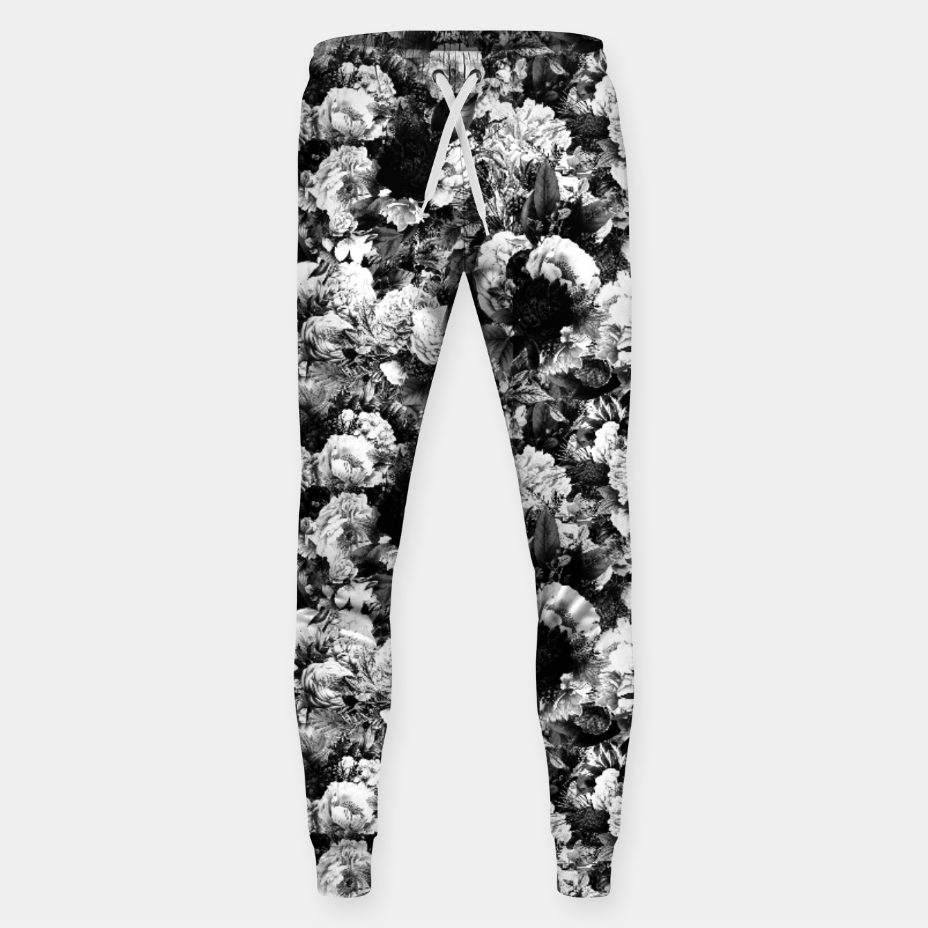 Image of winter flowers seamless pattern 01 small light black white Sweatpants - Live Heroes