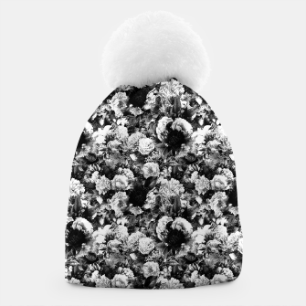 winter flowers seamless pattern 01 small light black white Beanie thumbnail image