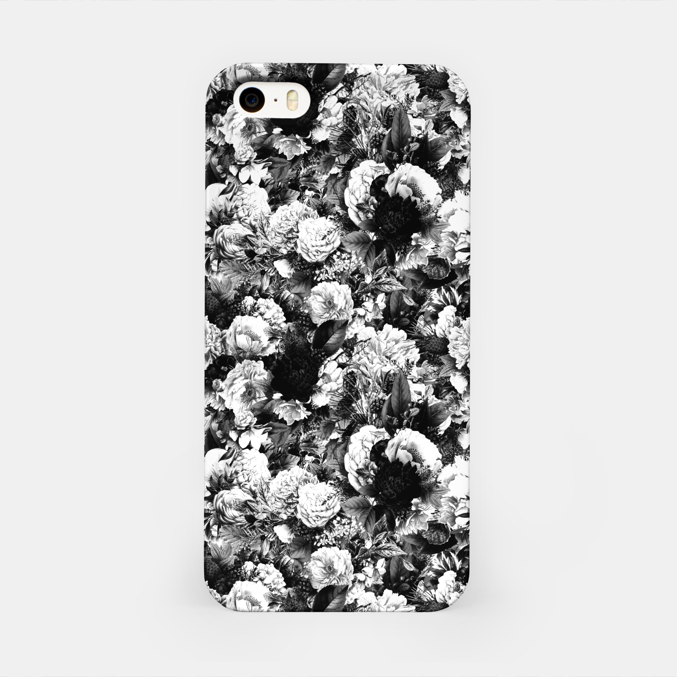 Image of winter flowers seamless pattern 01 small light black white iPhone Case - Live Heroes