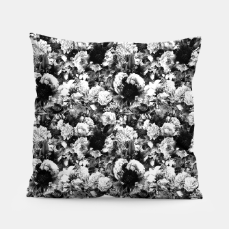 winter flowers seamless pattern 01 small light black white Pillow thumbnail image