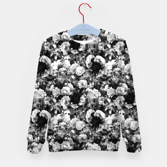 winter flowers seamless pattern 01 small light black white Kid's sweater thumbnail image