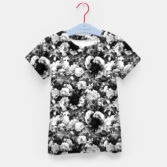 winter flowers seamless pattern 01 small light black white Kid's t-shirt thumbnail image