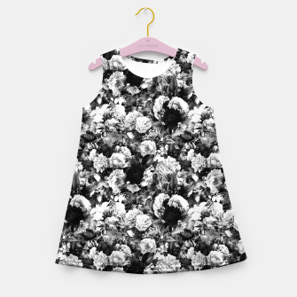 winter flowers seamless pattern 01 small light black white Girl's summer dress thumbnail image