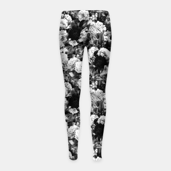 winter flowers seamless pattern 01 small light black white Girl's leggings thumbnail image