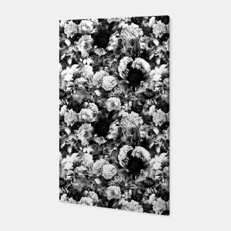 winter flowers seamless pattern 01 small light black white Canvas thumbnail image