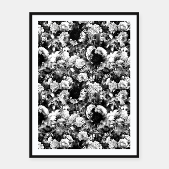 winter flowers seamless pattern 01 small light black white Framed poster thumbnail image