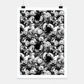 winter flowers seamless pattern 01 small light black white Poster thumbnail image