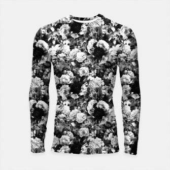 winter flowers seamless pattern 01 small light black white Longsleeve rashguard  thumbnail image