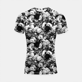 winter flowers seamless pattern 01 small light black white Shortsleeve rashguard thumbnail image