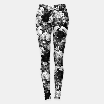 winter flowers seamless pattern 01 small light black white Leggings thumbnail image