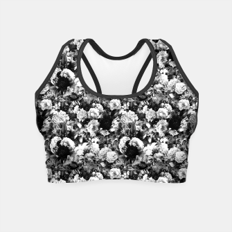 winter flowers seamless pattern 01 small light black white Crop Top thumbnail image