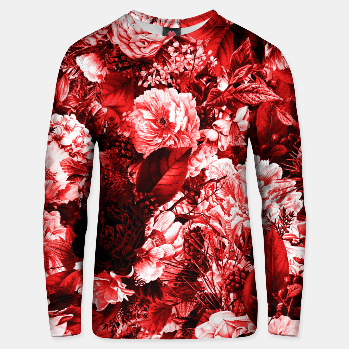 Image of winter flowers seamless pattern 01 big lovely red Unisex sweater - Live Heroes