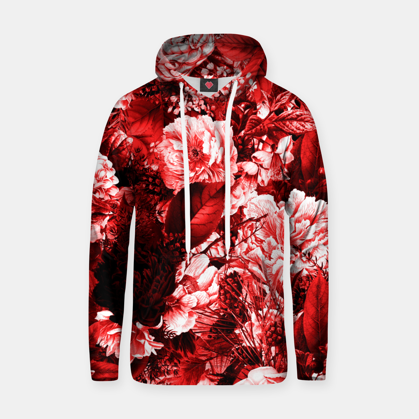 Image of winter flowers seamless pattern 01 big lovely red Hoodie - Live Heroes