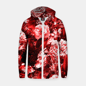 winter flowers seamless pattern 01 big lovely red Zip up hoodie thumbnail image