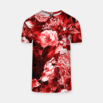winter flowers seamless pattern 01 big lovely red T-shirt thumbnail image