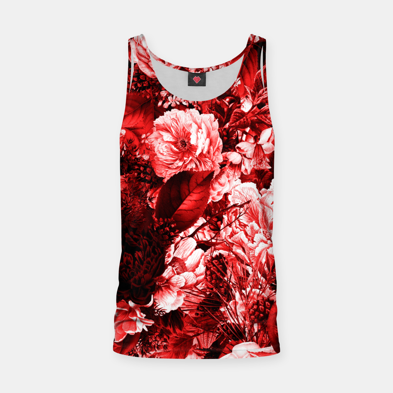 Image of winter flowers seamless pattern 01 big lovely red Tank Top - Live Heroes