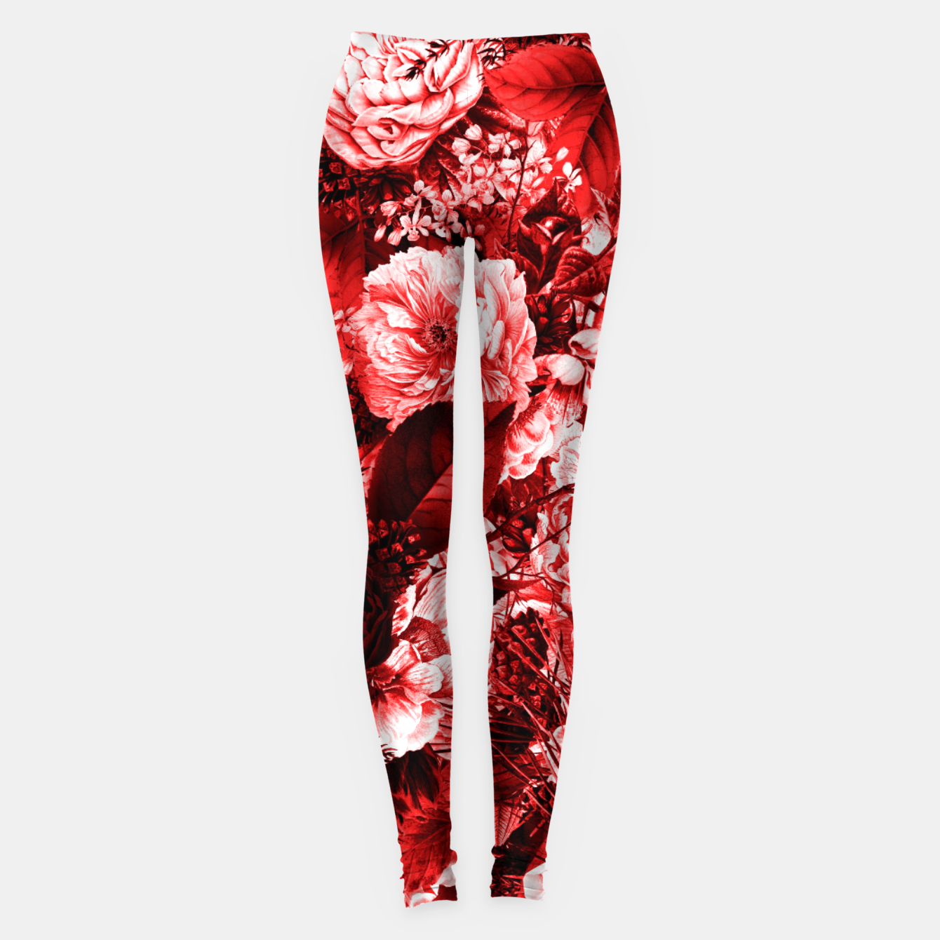 Image of winter flowers seamless pattern 01 big lovely red Leggings - Live Heroes