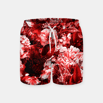 winter flowers seamless pattern 01 big lovely red Swim Shorts thumbnail image