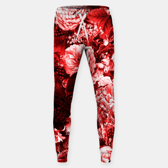winter flowers seamless pattern 01 big lovely red Sweatpants thumbnail image