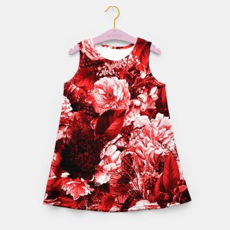 winter flowers seamless pattern 01 big lovely red Girl's summer dress thumbnail image