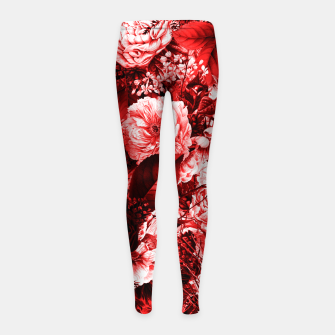 winter flowers seamless pattern 01 big lovely red Girl's leggings thumbnail image