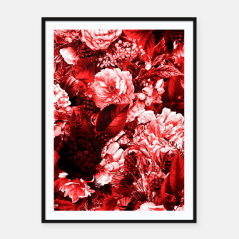 winter flowers seamless pattern 01 big lovely red Framed poster thumbnail image