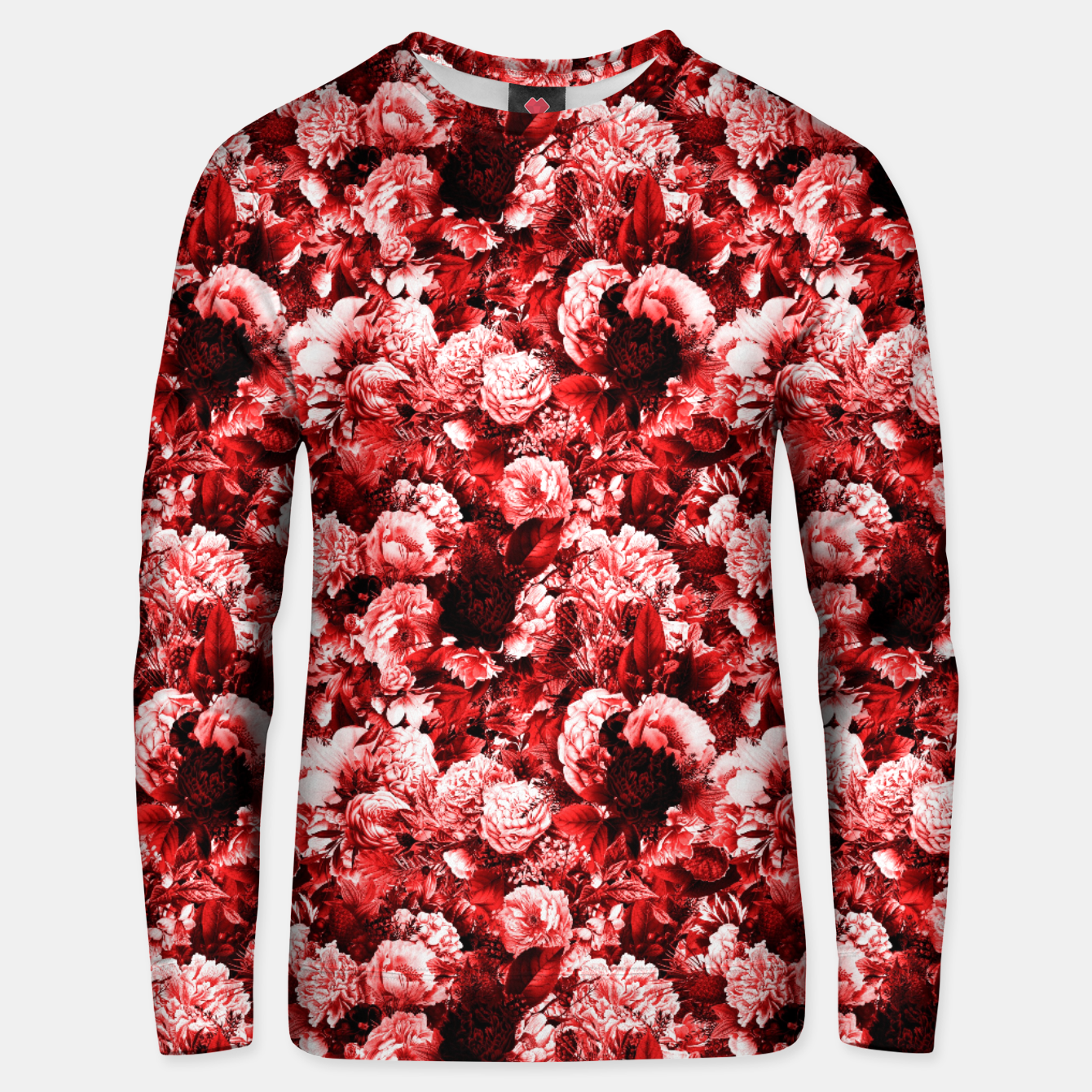 Image of winter flowers seamless pattern 01 small lovely red Unisex sweater - Live Heroes