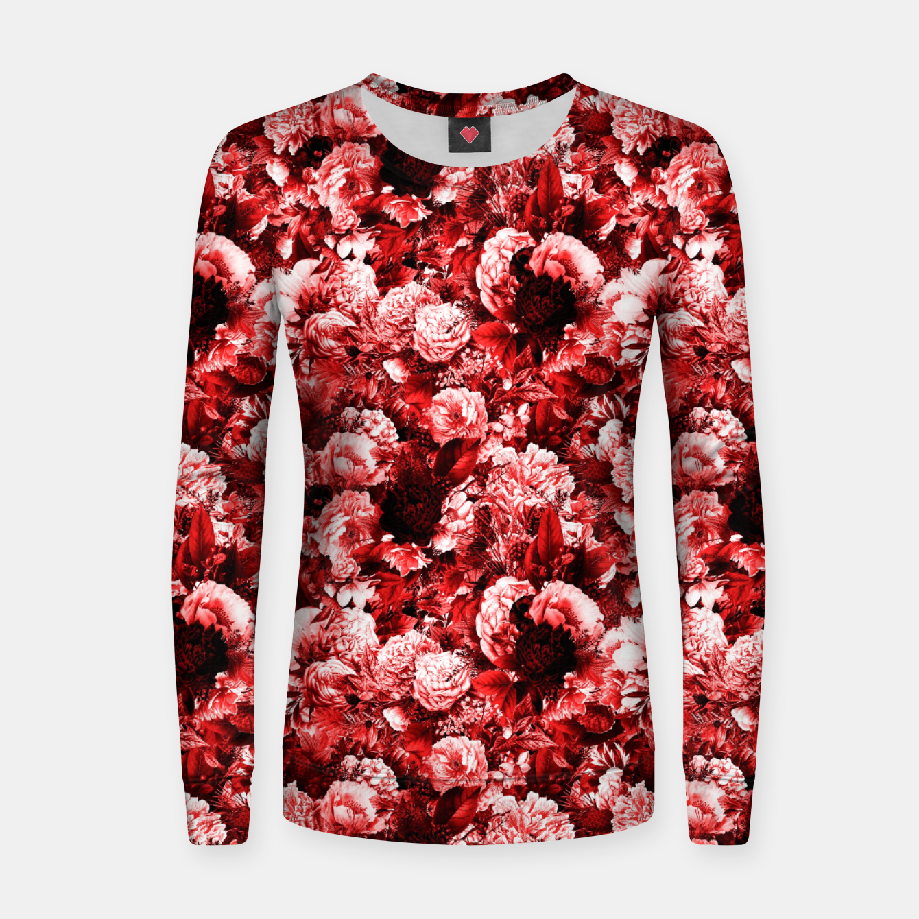 Image of winter flowers seamless pattern 01 small lovely red Women sweater - Live Heroes