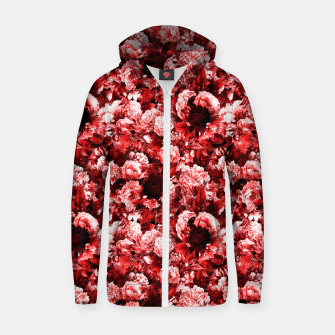 winter flowers seamless pattern 01 small lovely red Zip up hoodie thumbnail image