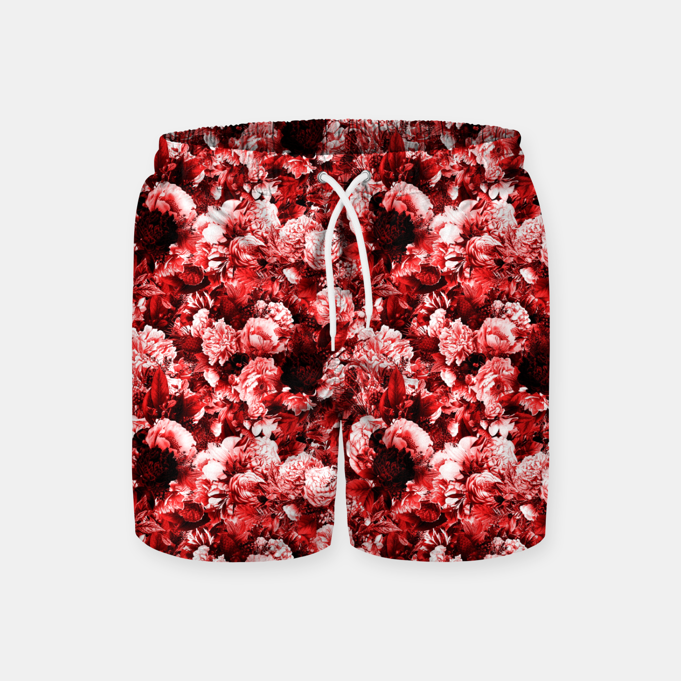 Image of winter flowers seamless pattern 01 small lovely red Swim Shorts - Live Heroes