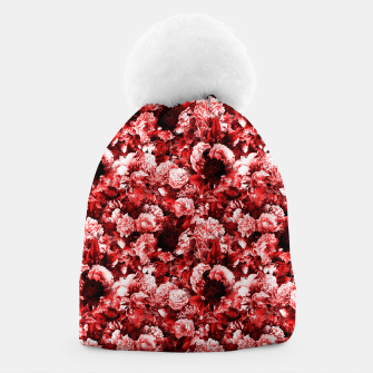 winter flowers seamless pattern 01 small lovely red Beanie thumbnail image