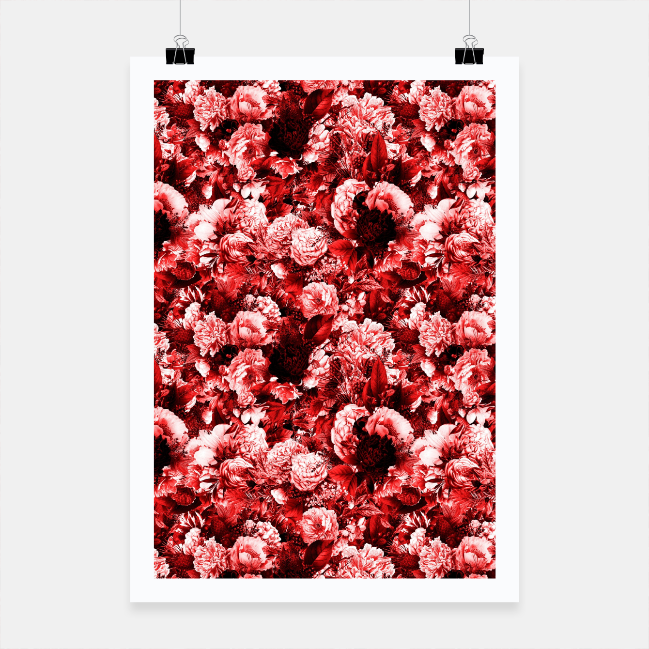 Image of winter flowers seamless pattern 01 small lovely red Poster - Live Heroes