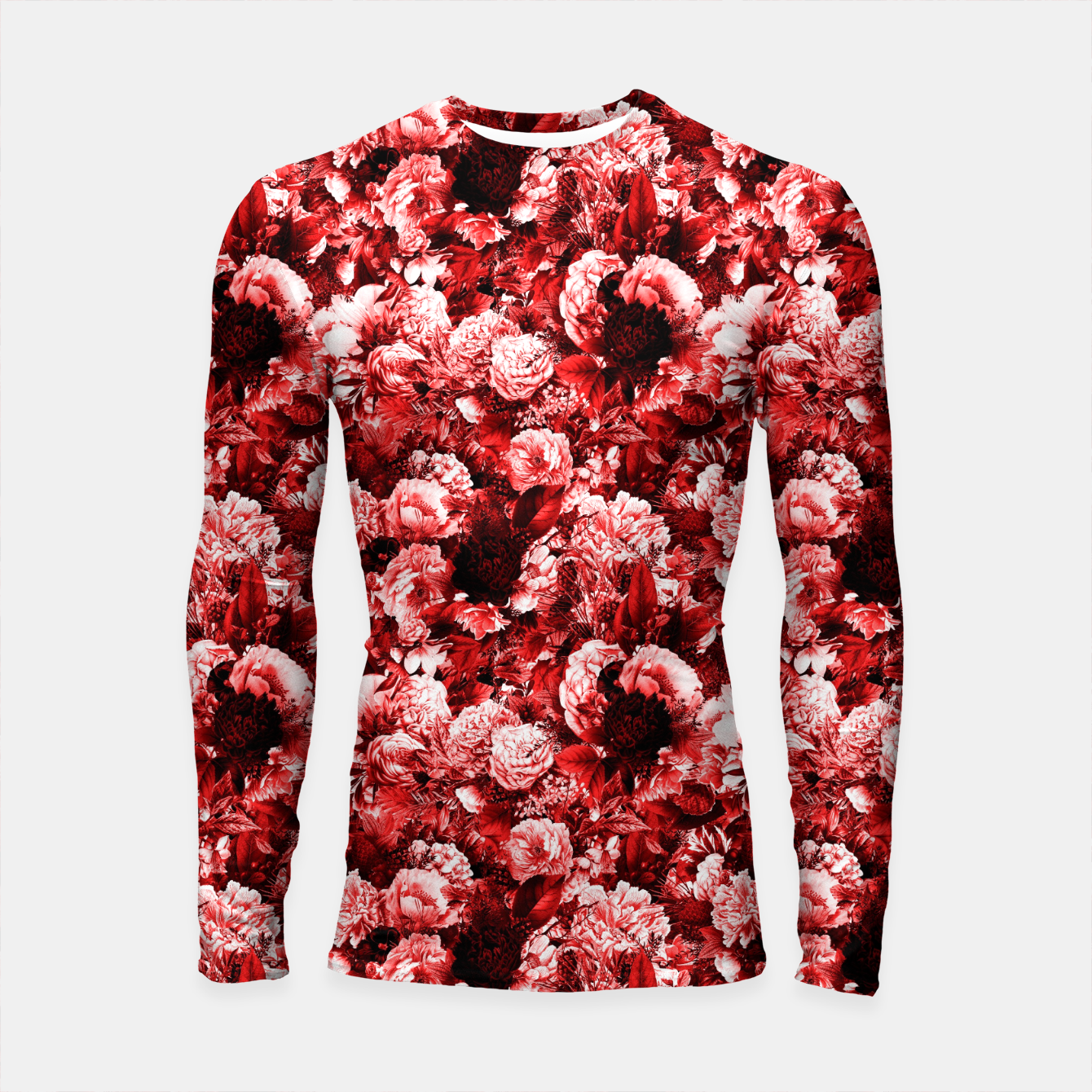 Image of winter flowers seamless pattern 01 small lovely red Longsleeve rashguard  - Live Heroes