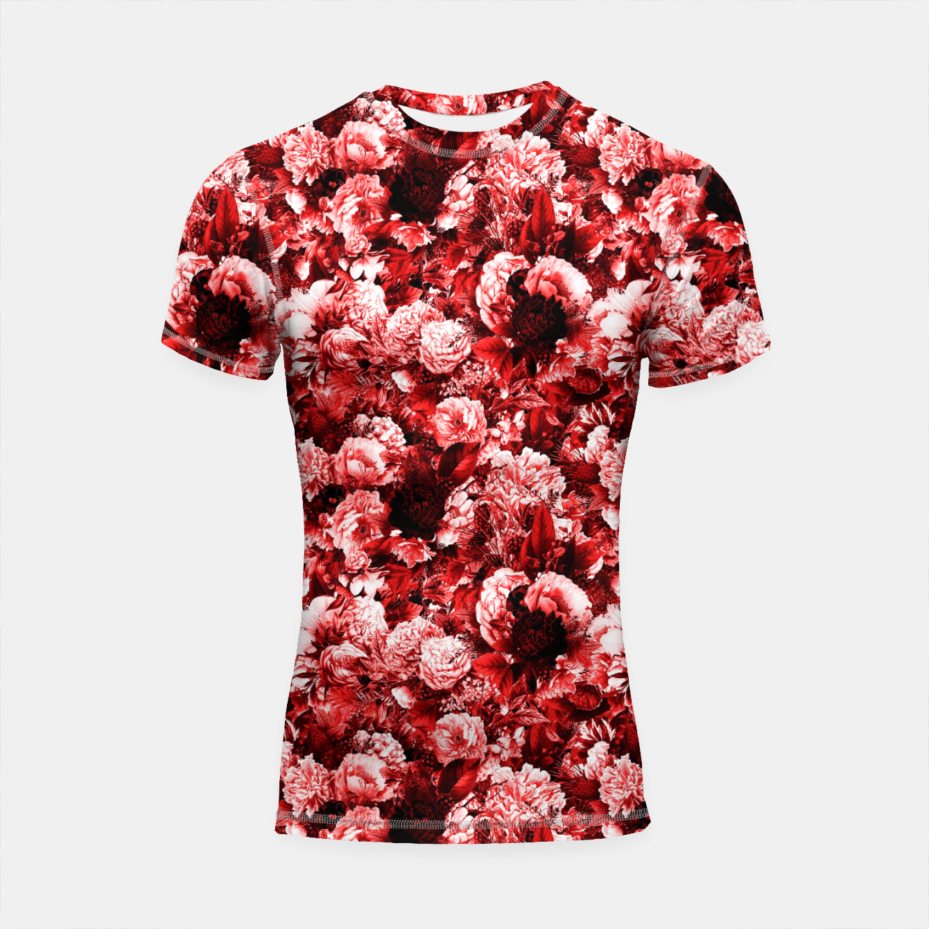 Image of winter flowers seamless pattern 01 small lovely red Shortsleeve rashguard - Live Heroes