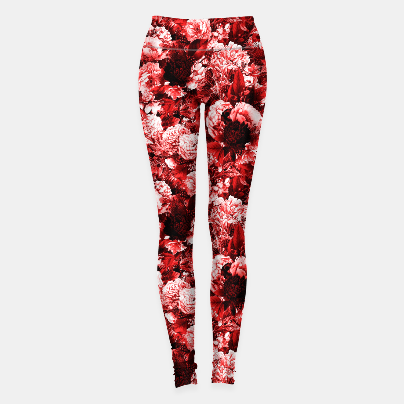 Image of winter flowers seamless pattern 01 small lovely red Leggings - Live Heroes