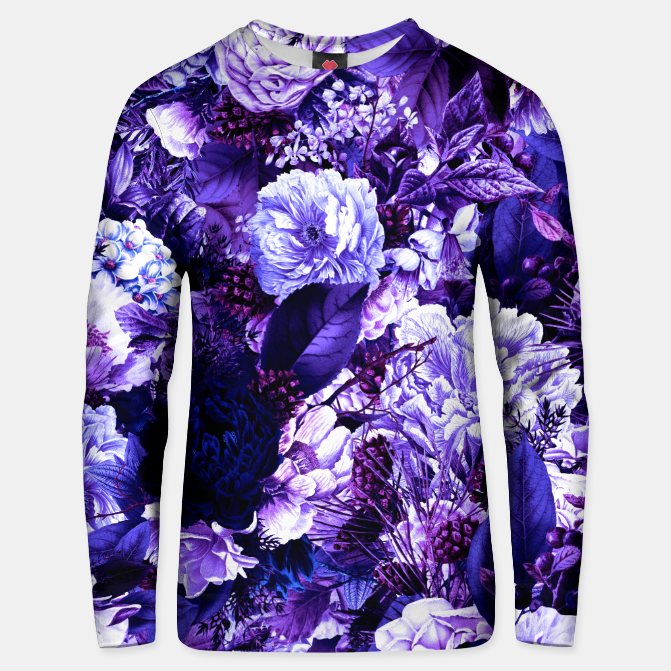 Image of winter flowers seamless pattern 01 big purple Unisex sweater - Live Heroes