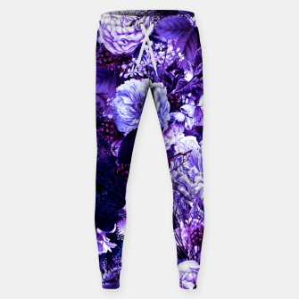 winter flowers seamless pattern 01 big purple Sweatpants thumbnail image