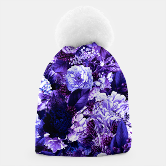 winter flowers seamless pattern 01 big purple Beanie thumbnail image