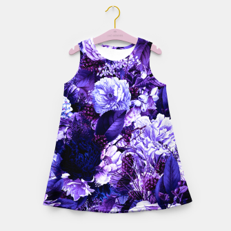 winter flowers seamless pattern 01 big purple Girl's summer dress thumbnail image
