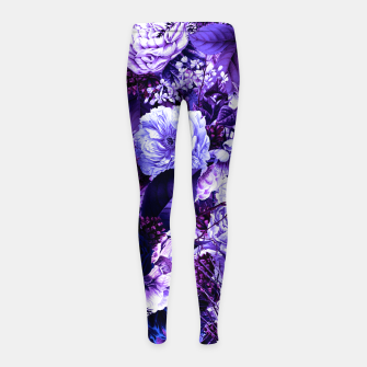 winter flowers seamless pattern 01 big purple Girl's leggings thumbnail image