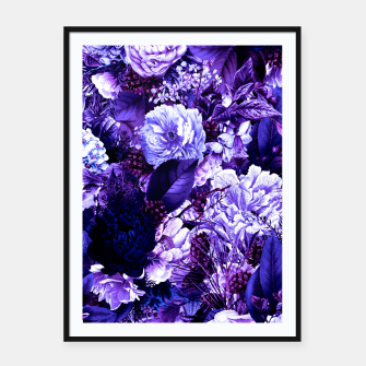 winter flowers seamless pattern 01 big purple Framed poster thumbnail image
