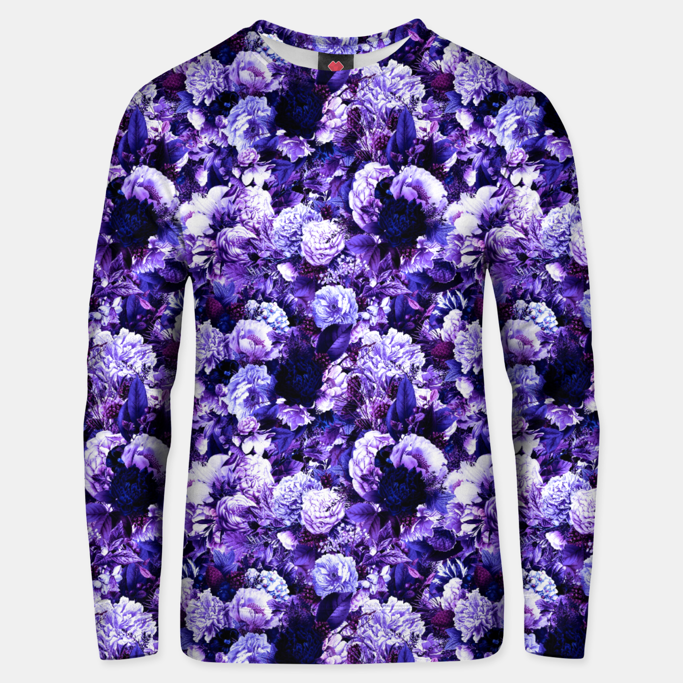 Image of winter flowers seamless pattern 01 small purple Unisex sweater - Live Heroes