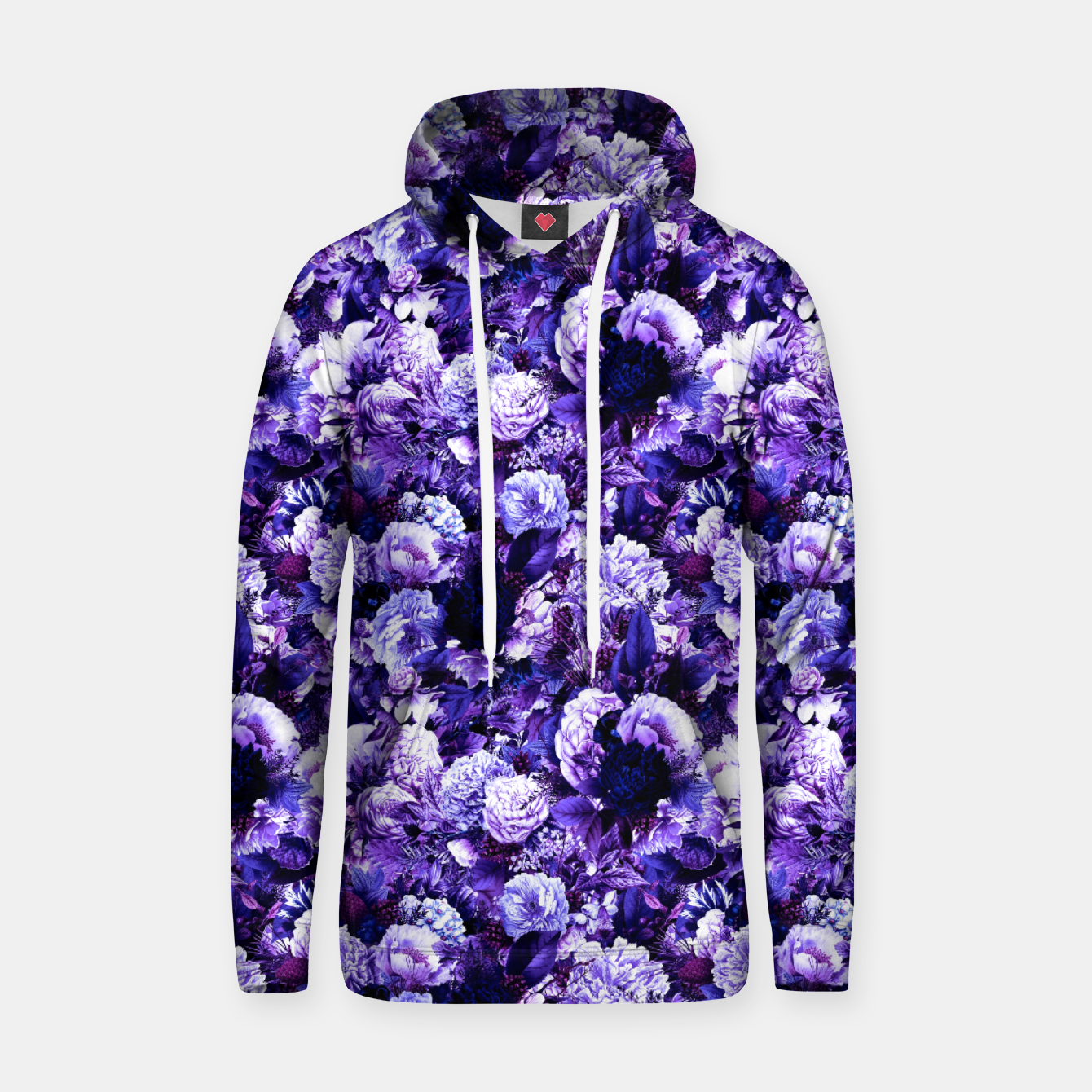 Image of winter flowers seamless pattern 01 small purple Hoodie - Live Heroes