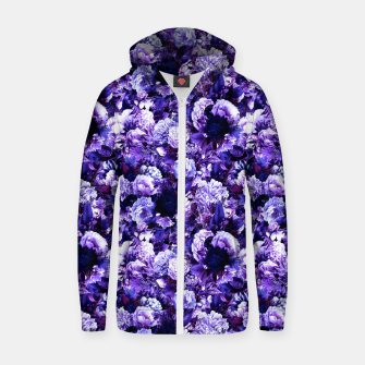 winter flowers seamless pattern 01 small purple Zip up hoodie thumbnail image