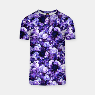 winter flowers seamless pattern 01 small purple T-shirt thumbnail image