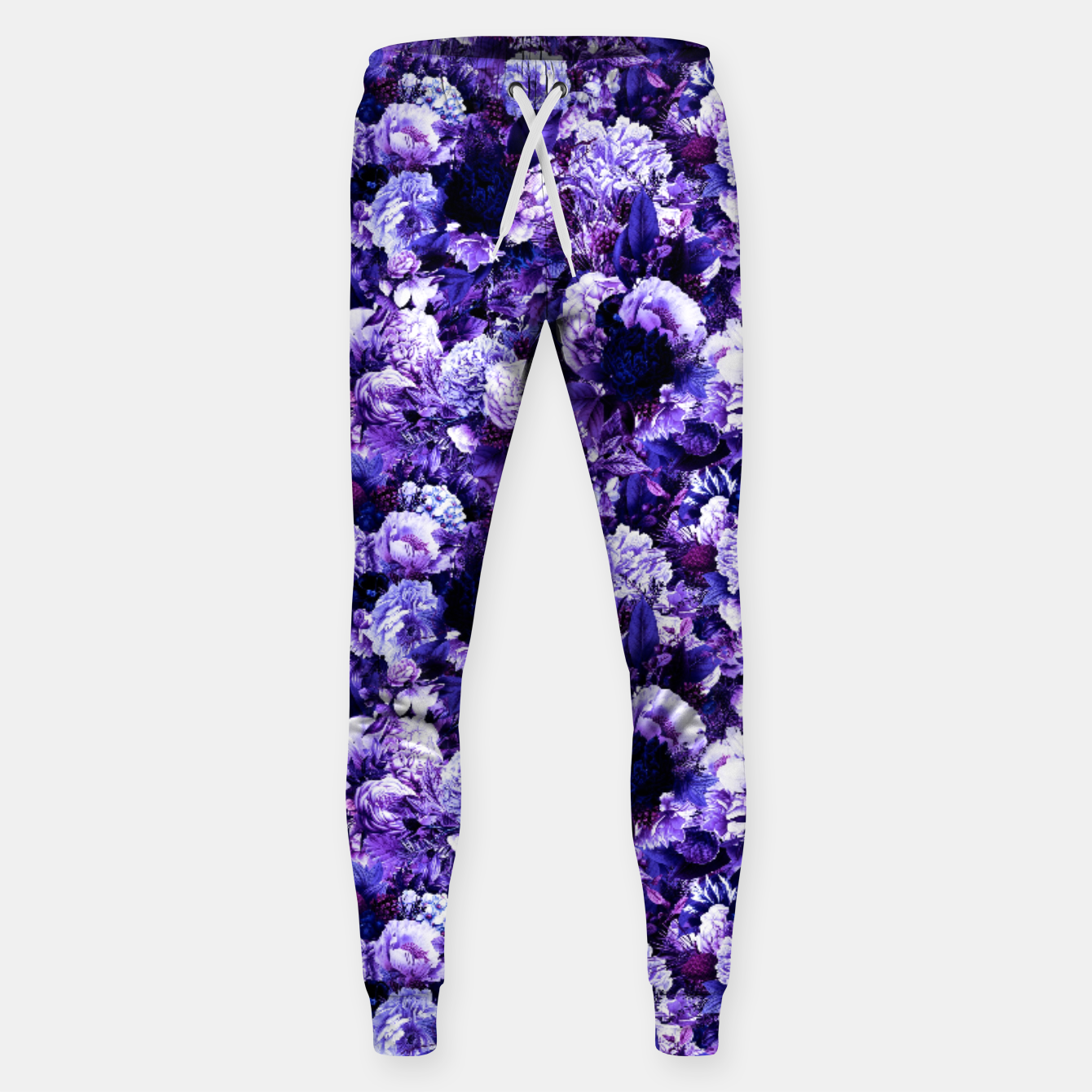 Image of winter flowers seamless pattern 01 small purple Sweatpants - Live Heroes